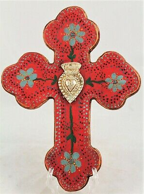 Wood Hanging Cross/Milagros Mexican Folk Art Hand Crafted Religious Royal Heart