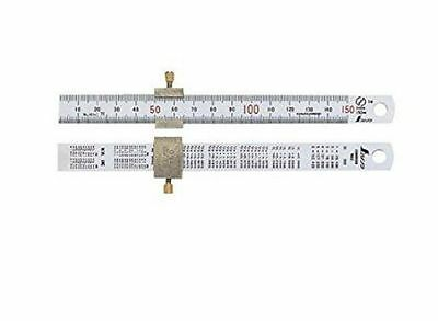 SHINWA Measurement Straight Scale Silver 150mm With 76751 Stopper