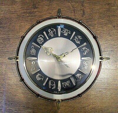 Vintage Retro 1960's Metamec Zodiac Wall Clock with Sign Symbols for Numbers