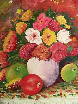 Beautiful Textural Large Colourful Floral /Fruit Still Life Painting On Board