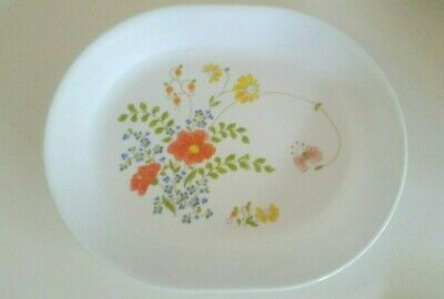 """Vintage Corelle Corning Wildflower Oval Serving Platter 12X10"""" no chip FREE SHIP"""