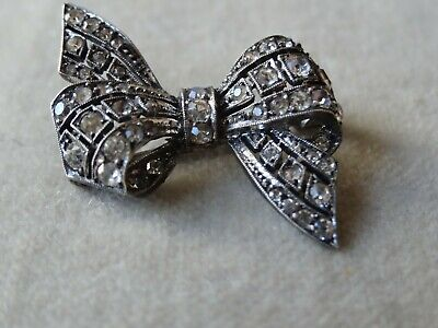 Victorian Antique Jewellery Sterling Silver Paste Ribbon Bow Brooch