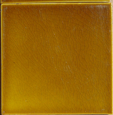 Bronze Yellow-Olive Original period antique field tile 6x6 Art Nouveau Majolica