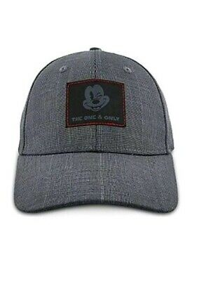 "NEW Disney Parks Mickey Mouse Adult Hat Baseball Cap Gray Black Plaid ""The One"""