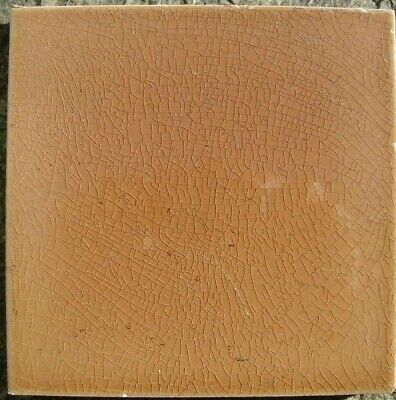 Orange/red-brown Original period antique field tile 6x6 Art Nouveau Majolica