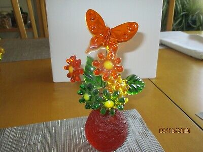 Vintage Lucite Acrylic  Flower Butterfly Sculpture Mid Century Resin 60's