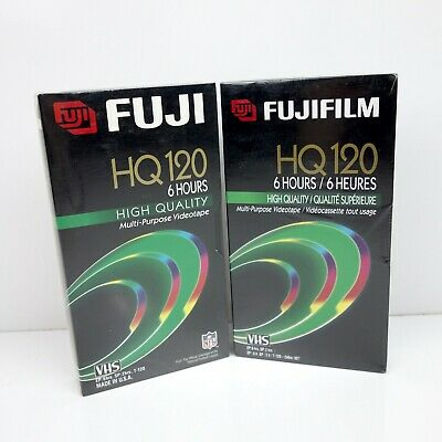 Lot of 2 Fuji HQ120 VHS Tapes High Quality 6 Hours Multi-Purpose Videotape