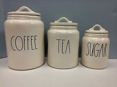 New Rae Dunn Canister Set COFFEE TEA SUGAR Ivory LL Large Letter By Magenta