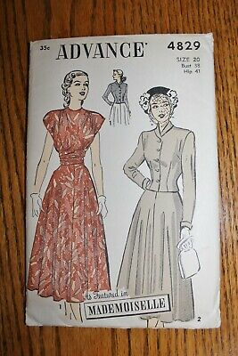 Vintage Advance Sewing Dress Pattern # 4829 Sz 20 Bust 38 Hip 41 Good Condition