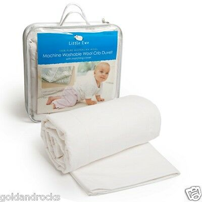 Baby Cot Duvet Quilt Doona w Cotton Cover 100% Wool Washable Little Ewe Wool NEW