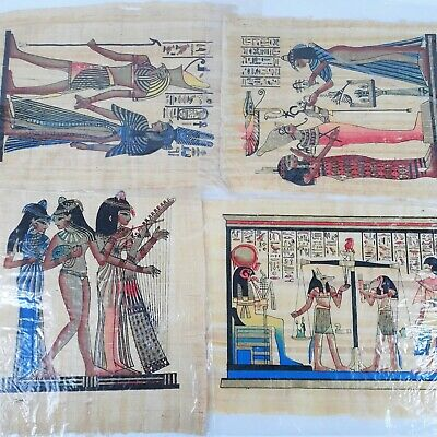 Vintage Egyptian Art on Papyrus Paper Lot of 4 Hand Painted Stamp