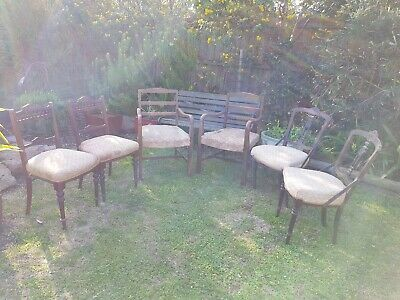 6 Antique Dining Chairs in need of restoration (3 pairs of similar chairs)