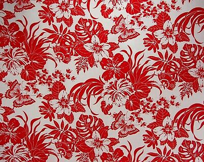 Fab Vtg Cranston Cotton Fabric Red/ White Tropical Foliage Butterflies-45x2.8Yds