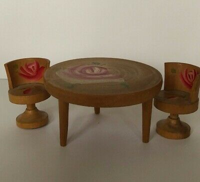 Vintage  Dollhouse Furniture Wood Kitchen Set Table Chairs Hand Painted Flowers