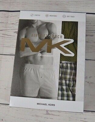 Nib Mens Michael Kors Airsoft Touch Green Woven Boxer Underwear 2 Pack Sz M L Xl
