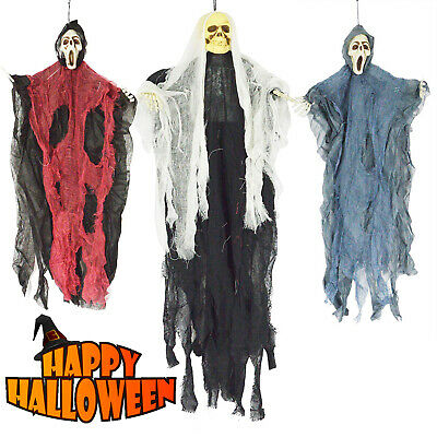 Halloween Decorations 3 Wicked Creepy Hanging Reapers Bendable Ghost Yard Decor
