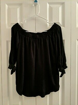 Abercrombie & Fitch Girls Junior Black Off The Shoulder Shirt Size Small