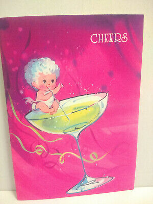 Vintage MCM Norcross New Year's Card Baby Martini Glass Hot Pink Purple Unused