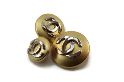 Vintage Matte gold silver Chanel look button in 3 sizes