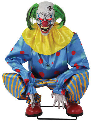 HALLOWEEN Life Size ANIMATED CROUCHING BLUE CLOWN Prop DECOR NEW