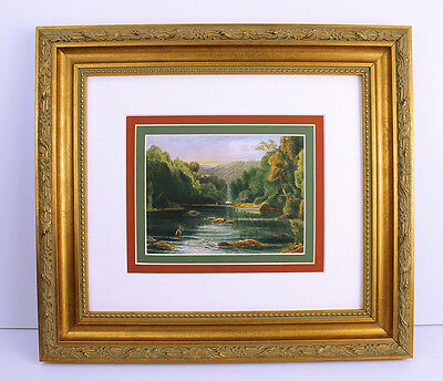 """Awesome 1700s Antique Mystery Painting """"Wooded Mountaintop Landscape"""" FRAMED COA"""