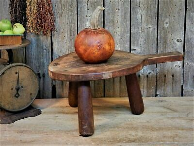 Best Early Antique Primitive Milking Stool Wooden Round Pegged AAFA