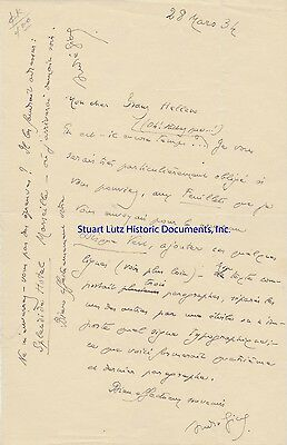 Andre Gide signed letter re literary magazine submissions 1934 in French