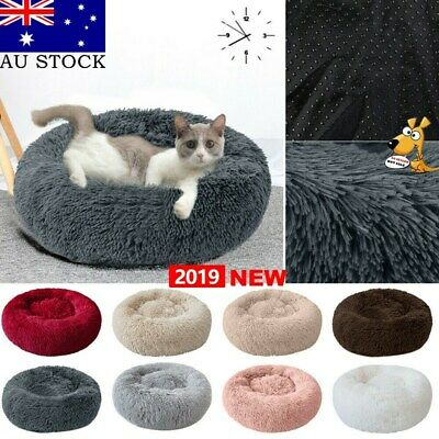 AU Pet Dog Cat Calming Bed Warm Soft Plush Round Nest Comfy Sleeping Kennel Cave