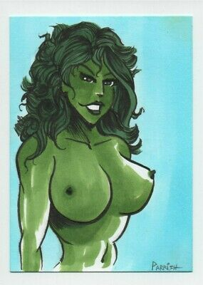BANNED ART She Hulk ORIGINAL COLOR card pinup comic woman nude marvel film nsfw