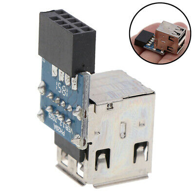 Internal Header Adapter 2 Port USB2.0 A Female 9Pin Motherboard to Double Layer`