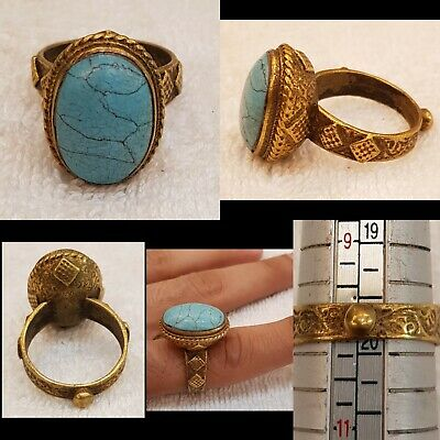 Wonderful Old Gold Plated Ring with Persian Beautiful Shajari Natural Turquoise