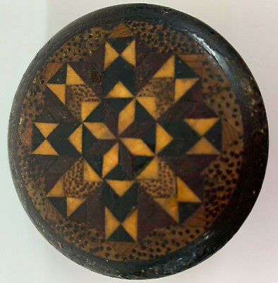Antique Trinket Box Treen Wooden Geometric Decoration Circular inlaid