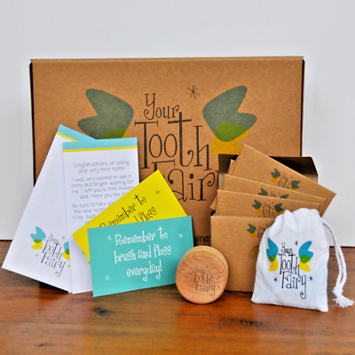Tooth Fairy Kit, with wooden tooth pot, message cards, glitter, and more