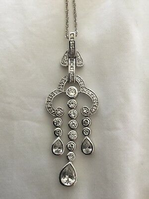 Genuine Crystal And Sterling Silver Chandelier Necklace