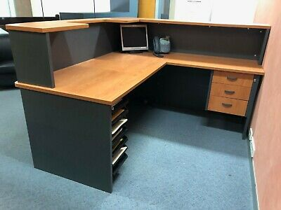 Used Reception Counter with Hob and Return Grey & Cherry in excellent condition.