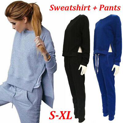 2pc Women Sport wear Casual Two-Piece Set Suit Tracksuit Crop Top+Long Pant S7P0