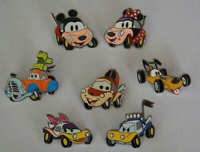 Lot of 7 Disney Trading Pins - Mickey & friends as cars characters. 2011,2013