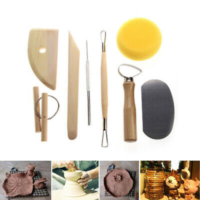 8 Pcs Pottery Tools Set Clay Sculpting Modeling Carving Wood Craft Scraping Kit