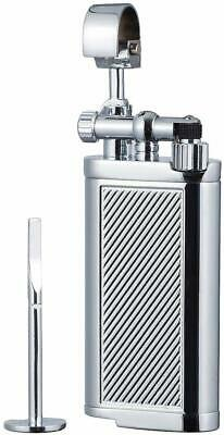 Tobacco Pipe Lighter with Tamper & Pick - All in One - Flint Stone - Chrome