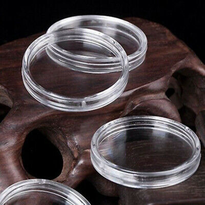 10PCS Clear Mini Round Coin Capsule Storage Holder Case 20.5mm Container Display