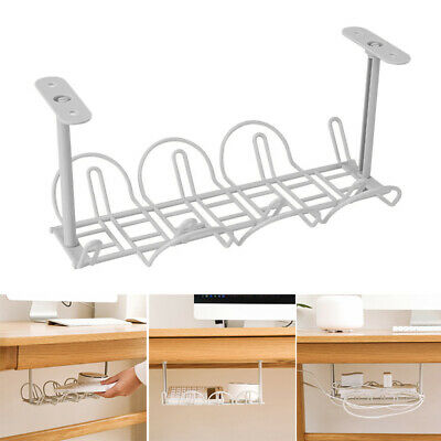 Under Desk Cable Management Tray Wire Cord Power Strip Adapter Organizer Holder