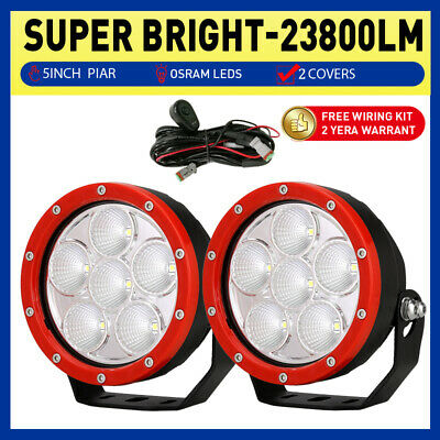 2PCS 9 inch Cree LED Driving Lights Round Spotlights Offroad 4WD White 12V SUV