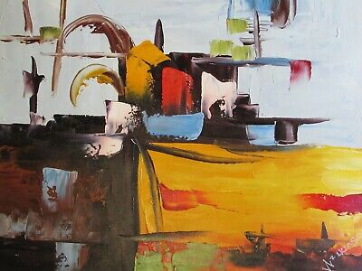 colourful abstract modern contemporary oil painting canvas art original cream 1