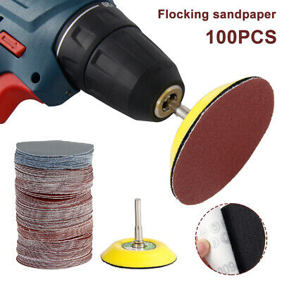 100pc 75mm Sanding Discs Polishing Self Adhesive Pad 80-3000 Grit + Shank Drill