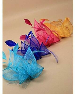 7121 Sinamay and Feather Fascinator on a Clear Comb Royal Blue, Yellow, Pink