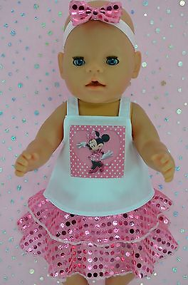 """Play n Wear Dolls Clothes To Fit 17"""" Baby Born PINK SEQUIN SKIRT~TOP~HEADBAND"""