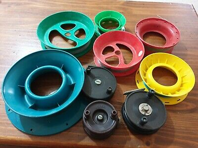 Vintage Bakelite Fly Reels x 3,  and 6 Various Size Hand Lines. #48