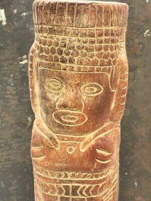 "Pre columbian style stone figure pillar, H:12"" mayan aztec repro reproduction"