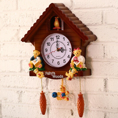 Vintage style Wooden Cuckoo Clock Bird Time Bell Swing Alarm Watch Wall Decor