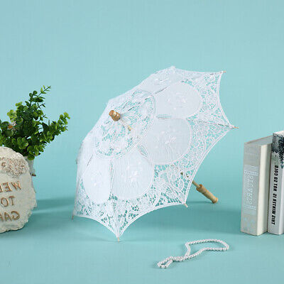 Vintage Style  23'' White Lace Embroidered Parasol Sun Umbrella Bridal Wedding